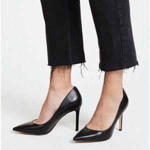 SAM EDELMAN Hazel Pump Heel Black Leather Pointy 8